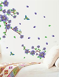 Wall Stickers Wall Decals, Natural Purple Plum Blossom PVC Wall Stickers