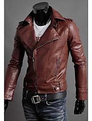 Design Men's Stand Coats & Jackets , PU Long Sleeve Casual Pocket Winter