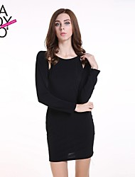 haoduoyi® Women's Tight Cut Out Back Shoulder Bateau Knitted Slim Fitted Dress