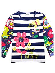 la camiseta de las flores de cuello redondo de la muchacha bordado invierno niños de manga larga camiseta de impresión antumn azar
