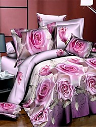 3D(random pattern) 4 Piece Reactive Print 4pcs (1 Duvet Cover, 1 Flat Sheet, 2 Shams)