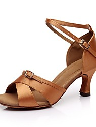 Customizable Women's Dance Shoes Latin Satin Customized Heel Black/Brown