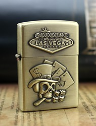 Personalized Engrave Skull Dice Pattern Metal Oil Lighter
