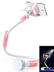 Desktop Seat Bed Bolt Clamp Mount Bracket with LED Light Lamp Multifunctional Mobilephone Stand Holder-Pink