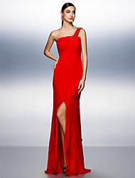 ts couture® vestido de noite formal plus size / bainha petite / coluna de um ombro até o chão chiffon com beading