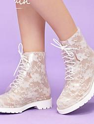 Hunt Women's Fashion Lace Print Low Heel Rainshoes