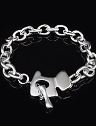 Woman's Fashion Silver Plated Dog Tag Bracelet