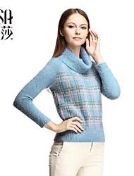 osa ® neue Winter 2014 Damenmode warme wollene karierten Pullover Rollkragenpullover gestrickten Pullover