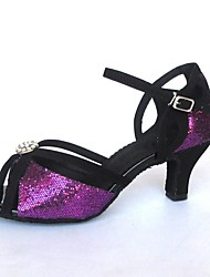 Latin Customizable Women's Sandals Sparkling Glitter With Buckie Dance Shoes