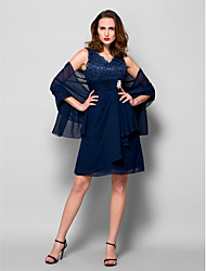 Lanting A-line Plus Sizes / Petite Mother of the Bride Dress - Dark Navy Knee-length Sleeveless Chiffon / Lace