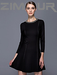 ZIMMUR  The 2014 fall fashion white-collar temperament elegant black turtleneck nail bead commuter dress