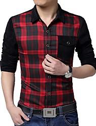 Men's Lapel Casual Plaid Long Sleeved Shirt