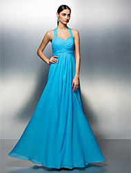 Lanting Bride® Floor-length Chiffon Bridesmaid Dress - A-line Halter Plus Size / Petite with Sash / Ribbon / Criss Cross / Ruching