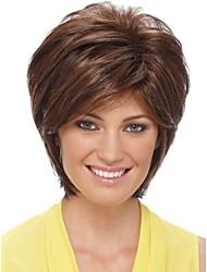 brevi marrone chiaro ondulate parrucche dei capelli umani senza cappuccio