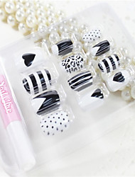 12 Pcs  Black Stripes And Spots  Design Nail Art Tips With Glue