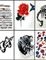 6 Pcs Flower Ring and Rose Mixed Temporary Tattoo