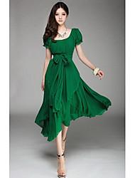 Sherry Women's Casual Short Sleeve Dresses (Chiffon)