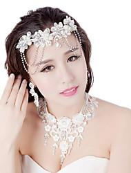tissel com conjuntos de moda flores de couro casamento jewerlry de tomada de moldagem (conjunto de 3)