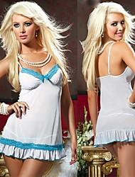 Lingerie nuisette sexy de vêtements de nuit pour les femmes blanches en mousseline de soie