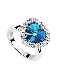 anneau de coeur en cristal autrichien