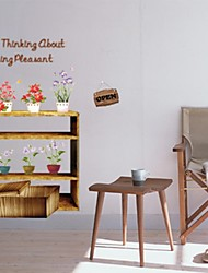 Wall Stickers Wall Decals, Comfortable Country Flowers PVC Wall Stickers