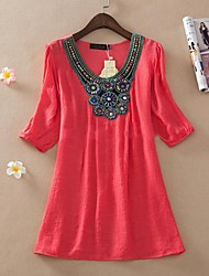 Women's Blue/Pink/Red/White/Green Blouse ½ Length Sleeve