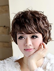 Trend Fluffy Temperament Short Curly Side Bang Hair Wigs