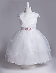 A-line Knee-length Flower Girl Dress - Organza Jewel with Flower(s)