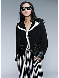 Leather Jacket Women's Holiday Two PU Patchwork Jacket