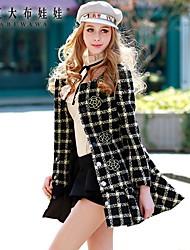 Pink Doll® Women's Check Tweed Elegant OL Slim Coat