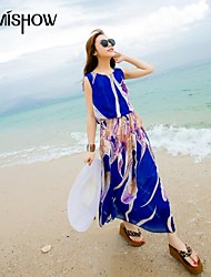 vestido de la playa maxi sin mangas de la gasa del diseño patrón de cuello estilo bohemio ronda de mishow®women