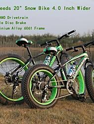"7 velocidades de 20 ""* 4.0 pulgadas pinchazo amplia OBK ™ de aleación de aluminio de nieve moto grasa bicicleta playa transmisión Shimano bicicleta"