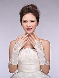 Elastic Satin Fingerless Elbow  Wedding Gloves with Applique ASG3