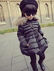 Girl's Fashion Solid Color Thick Warm Coat
