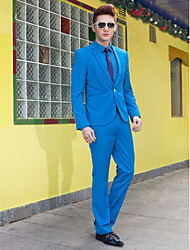 Blue Solid Slim Fit Tuxedo In Polyester