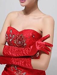 Elastic Satin Fingertips Elbow Length Wedding Gloves ASG29