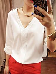 mengdie Frauen V-Ausschnitt Langarm abendländischen Stil T-Shirt