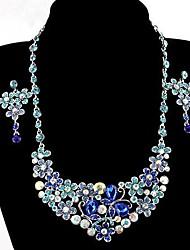 mode bloem ketting en oorbellen sieraden set willekeurige kleur