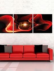 e-FOYER étiré sur toile abstraite rose rouge décoration peinture ensemble de trois