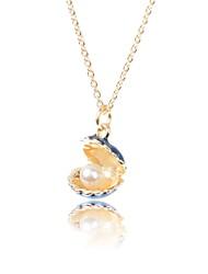 neue Mode-Shell mit Perle im Inneren Design-Legierung vergoldet Halskette