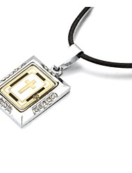 Golden Bible Crucifix Zinc Alloy Pendant Necklace