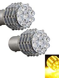 2PCS Car 1157 BA15S Turn Signal Parking Tail Bulb Lamp Yellow 45 LED Light 12V
