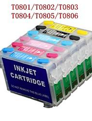 Bloom® T0801-T0806 cartouche d'encre rechargeable pour epson photo R265 / R360 / R285 / p50 / PX820 / PX700W / PX50 (6 couleurs 1set)