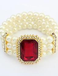 hermosas capas de perlas de las mujeres del rhinestone de cuentas plaza pulseras del filamento elástico