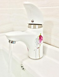 Modern Painting Pink Orchid One Hole Single Handle Ceramic Faucet