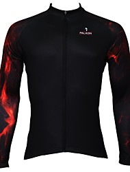 PaladinSport Men's Summer and Autumn Style 100% Polyester Black Lava Arm Long Sleeve Cycling Jersey