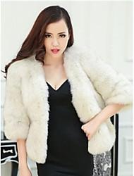 abrigo de manga larga abrigos de piel de zorro de las mujeres de la piel entera (más color)