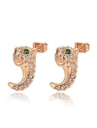 mode roxi autrichienne de cristal de léopard tête champagne zircon alliage stud la boucle d'oreille des femmes (1 paire)