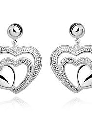 lureme® Fashion Style Silver Plated Multilayer Heart Shape Stud Earrings