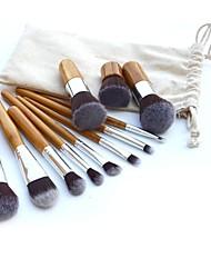 11pcs professionnel bambou outil de maquillage blush cosmétique brosser kit réglé avec le sac
